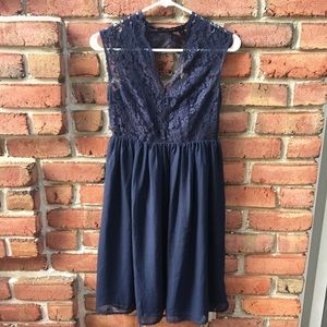 Tevolio Navy Blue Lace Fit & Flare Dress Size 2